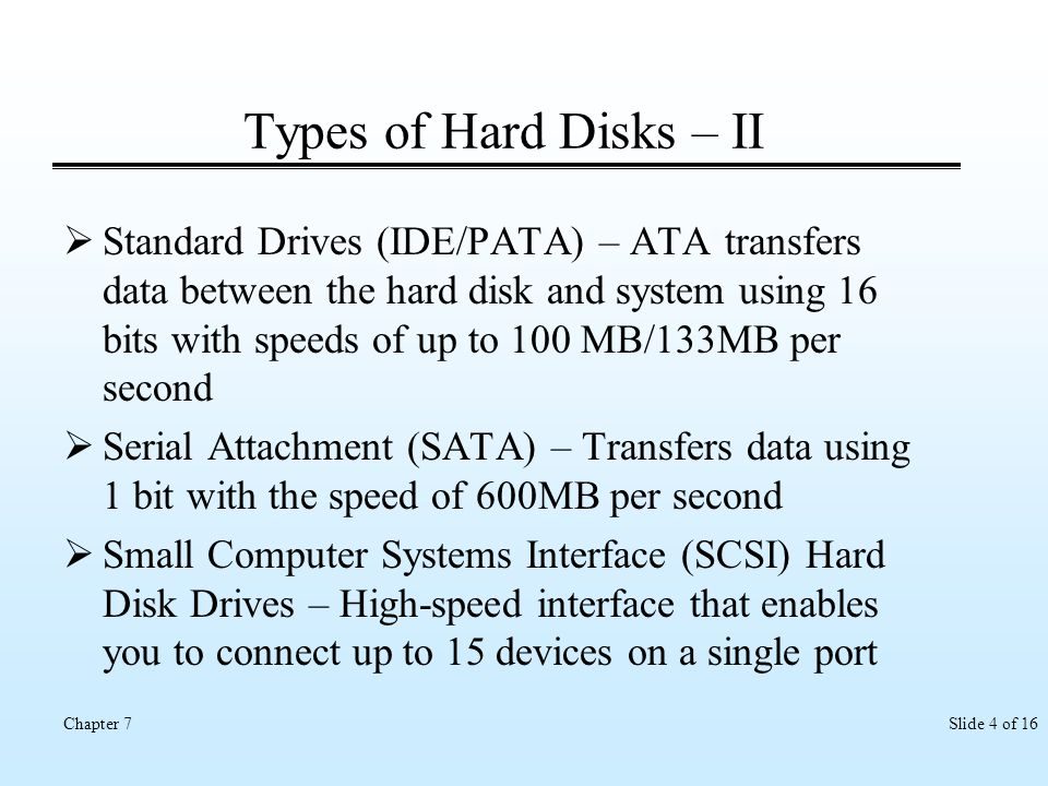 Types of Hard Disks – II