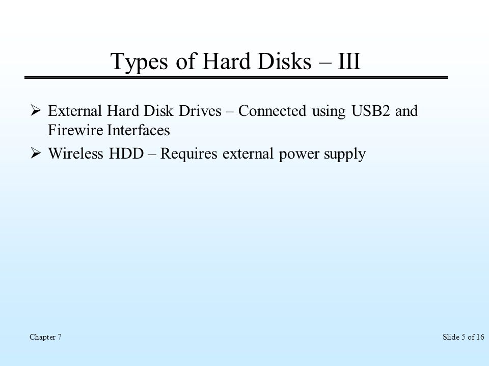 Types of Hard Disks – III