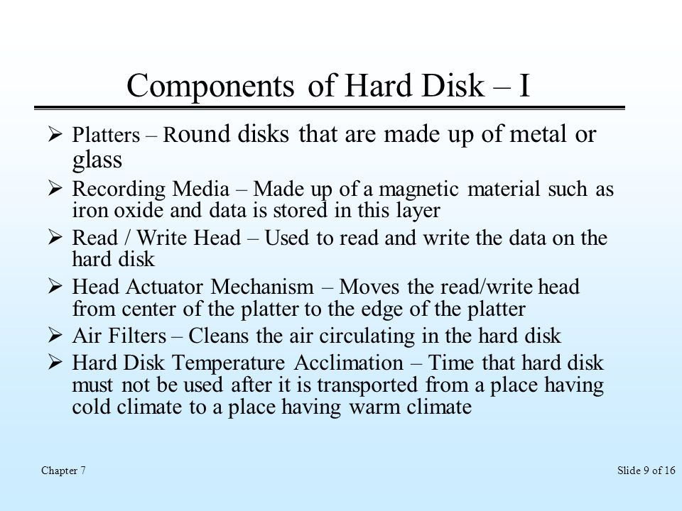 Components of Hard Disk – I