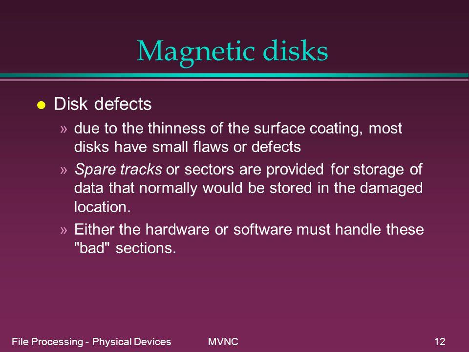 Magnetic disks Disk defects