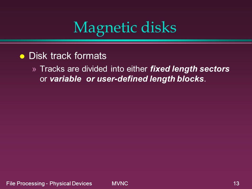 Magnetic disks Disk track formats