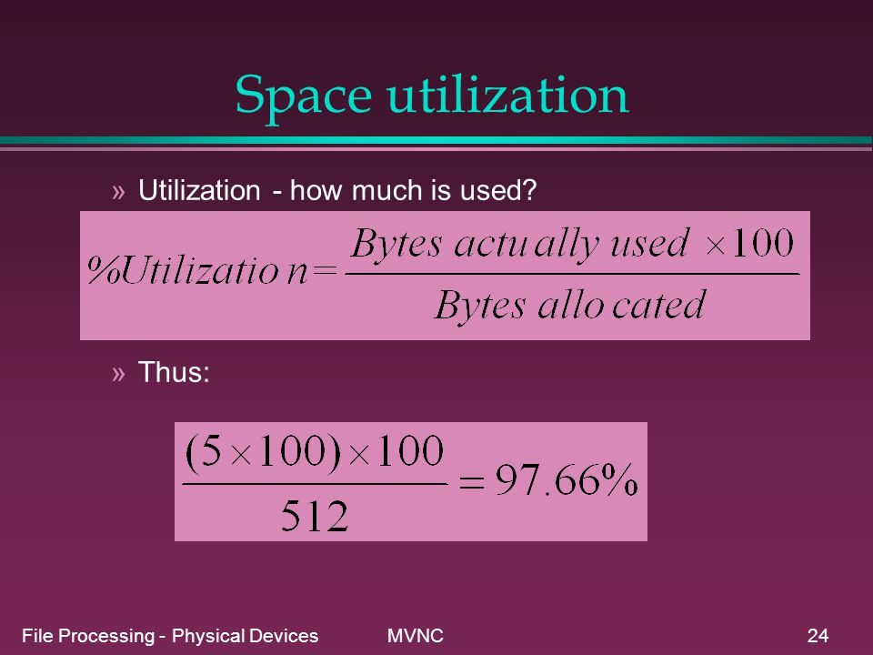 Space utilization Utilization - how much is used Thus: