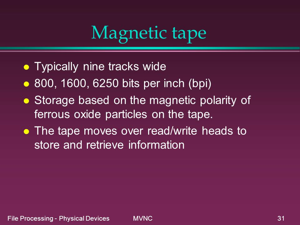 Magnetic tape Typically nine tracks wide