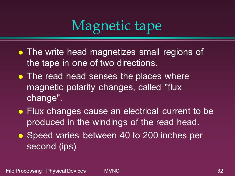 Magnetic tape The write head magnetizes small regions of the tape in one of two directions.