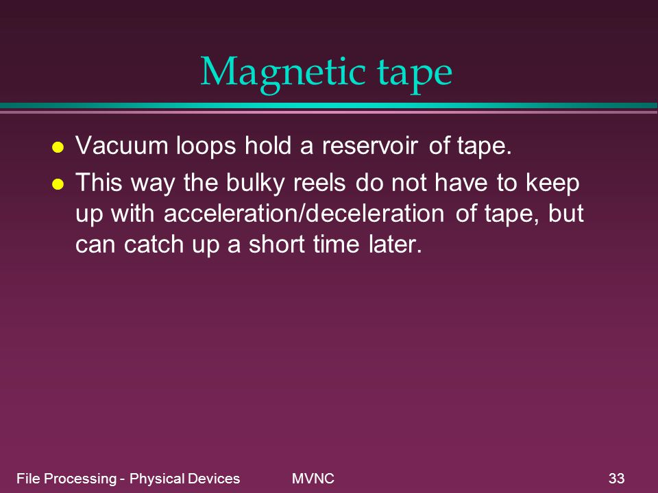 Magnetic tape Vacuum loops hold a reservoir of tape.