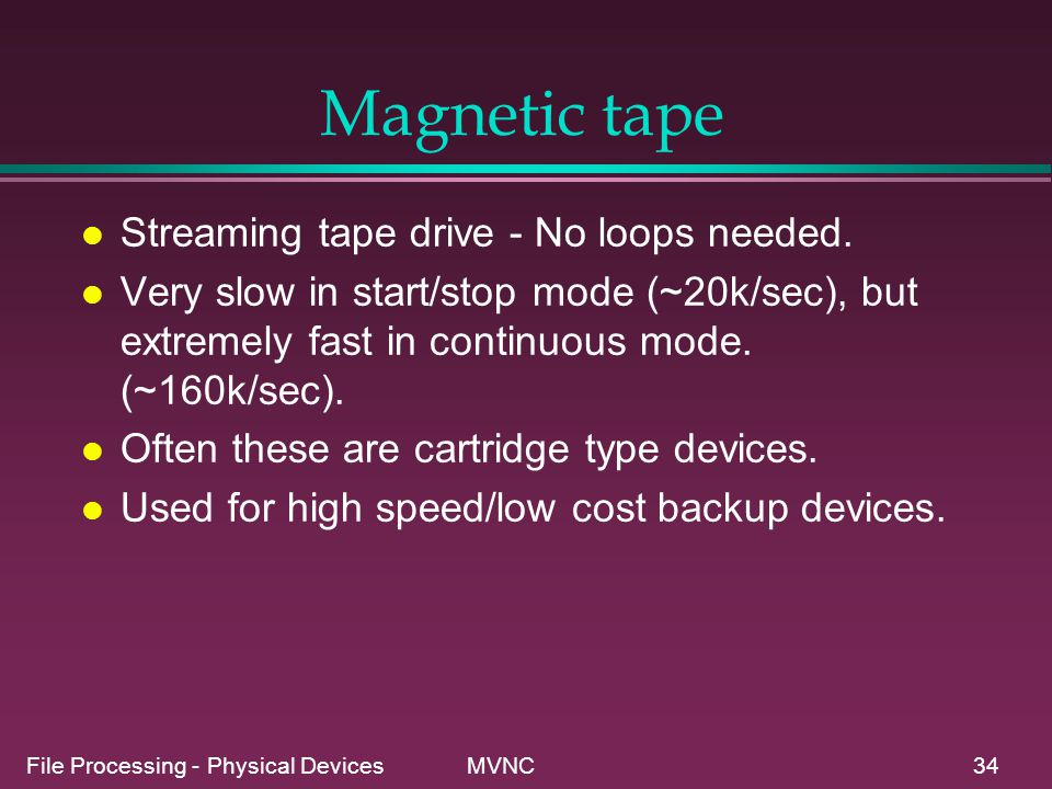 Magnetic tape Streaming tape drive - No loops needed.
