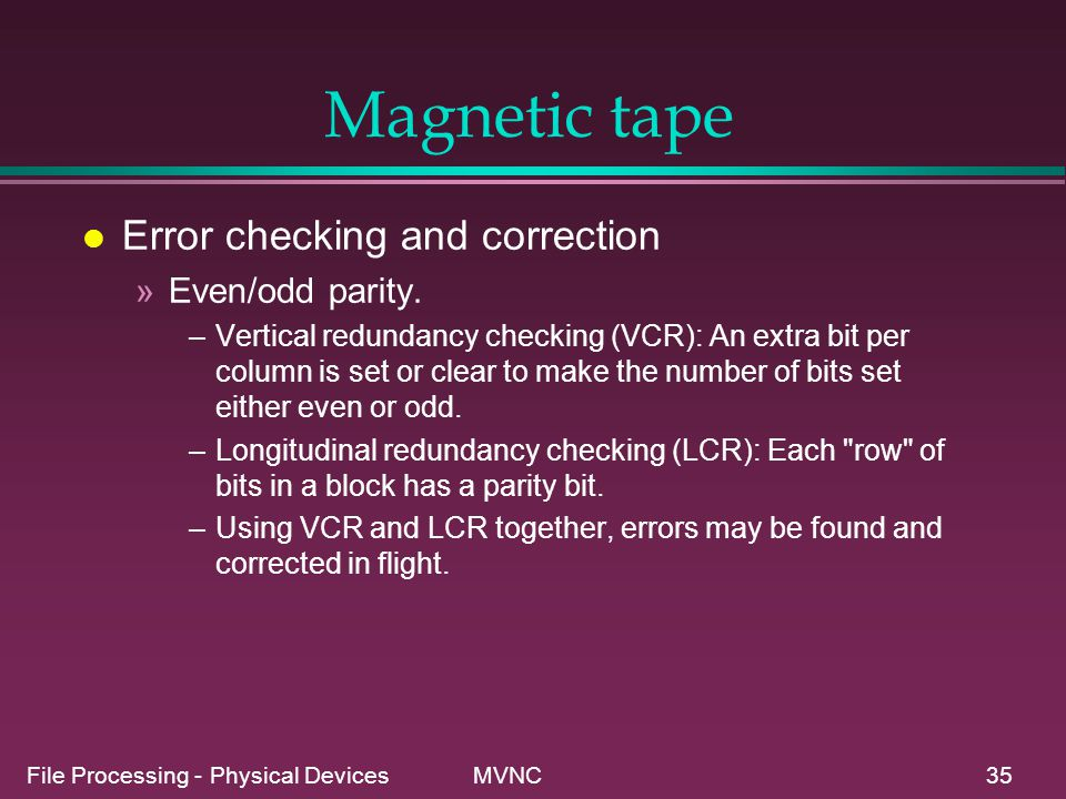 Magnetic tape Error checking and correction Even/odd parity.