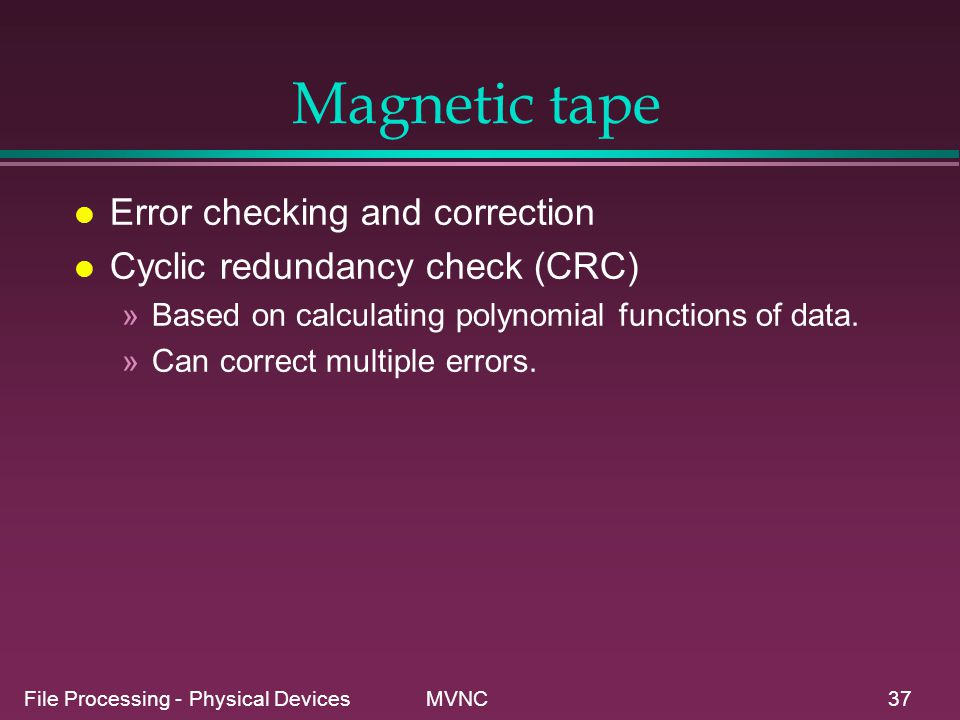 Magnetic tape Error checking and correction
