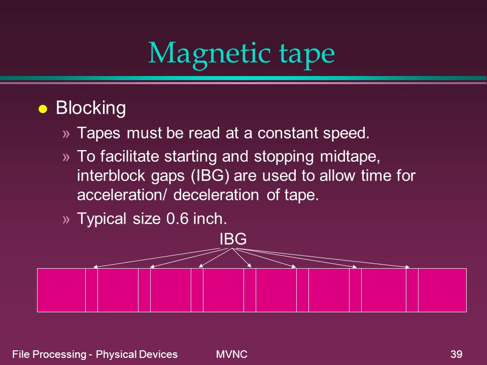 Magnetic tape Blocking Tapes must be read at a constant speed.