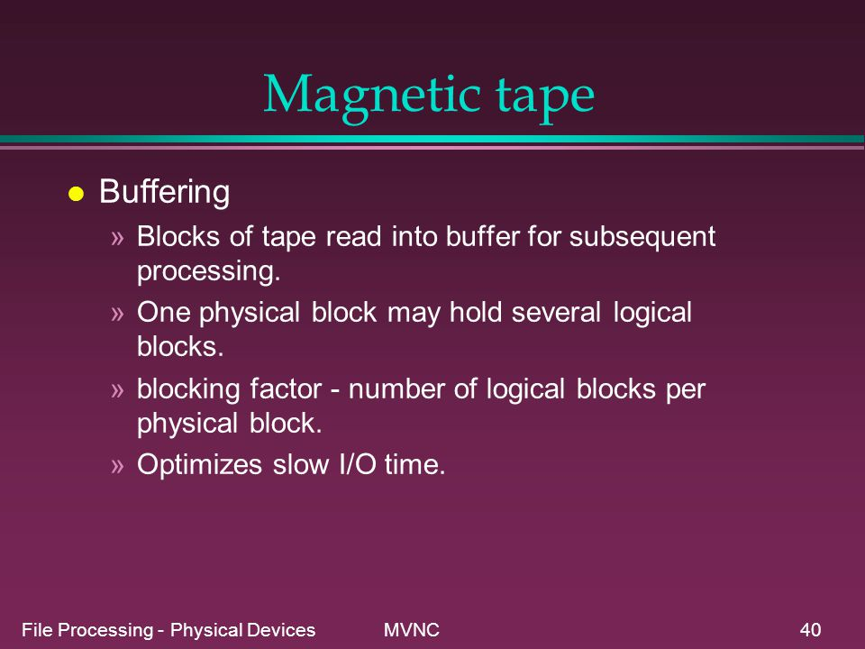 Magnetic tape Buffering
