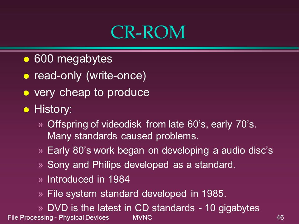 CR-ROM 600 megabytes read-only (write-once) very cheap to produce
