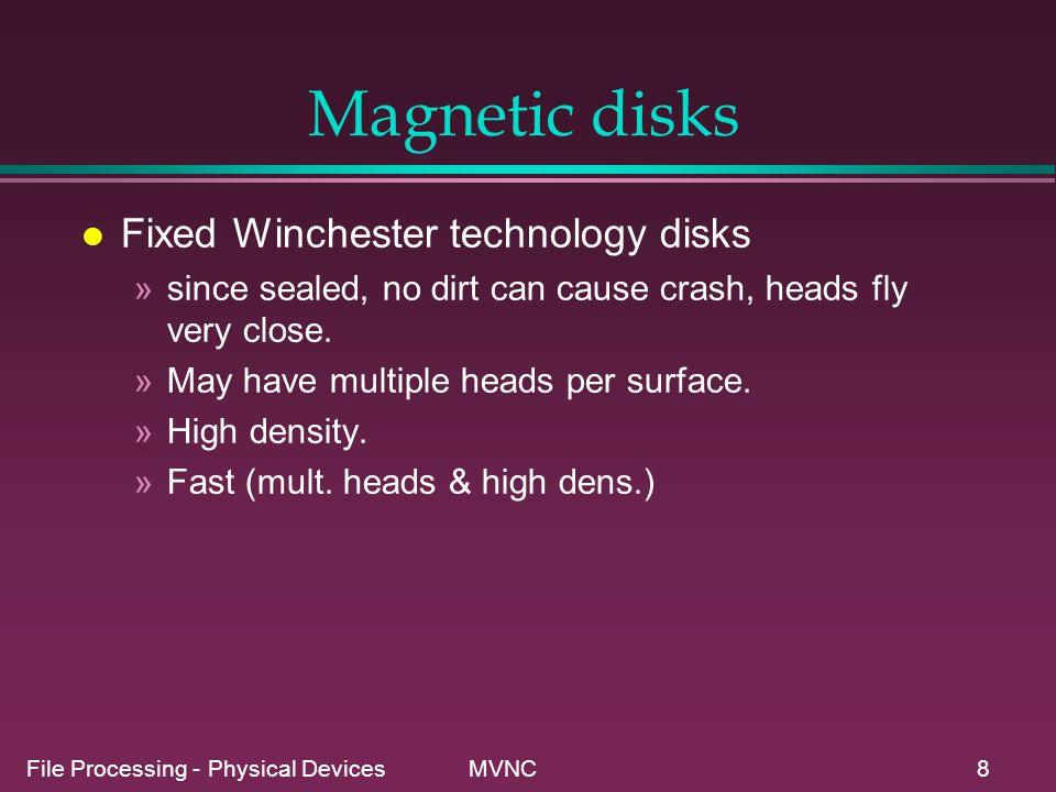 Magnetic disks Fixed Winchester technology disks