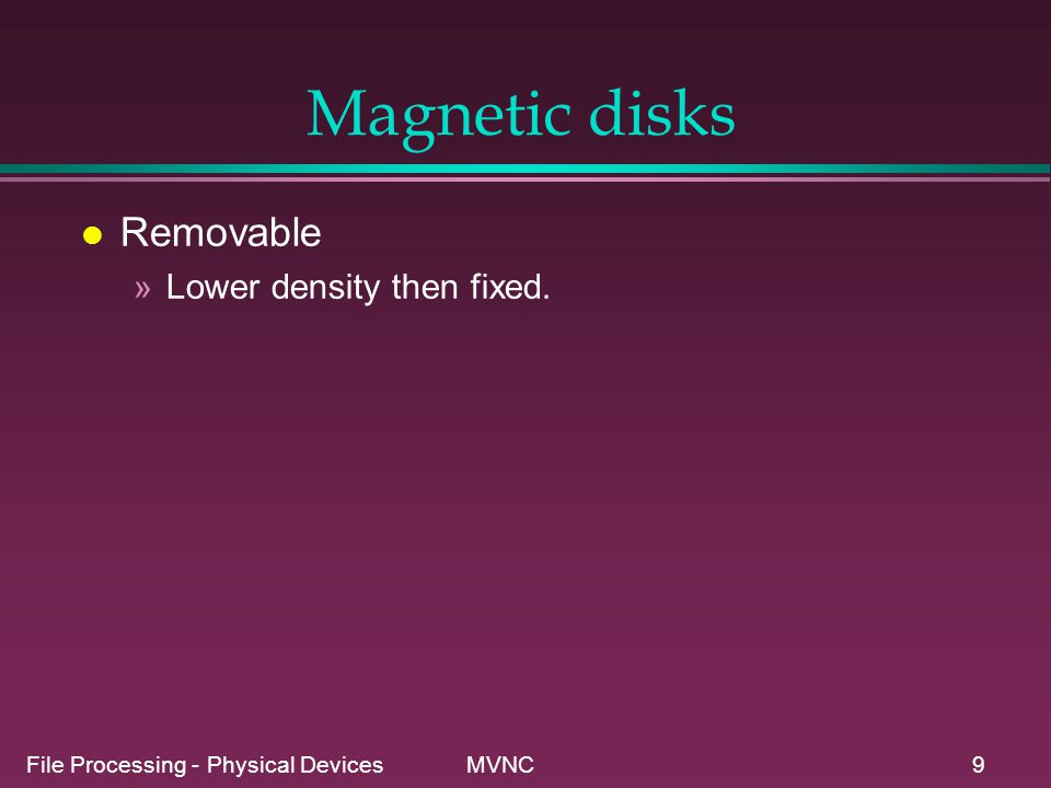 Magnetic disks Removable Lower density then fixed.