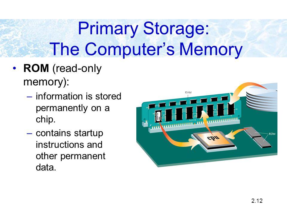 Primary Storage: The Computer's Memory