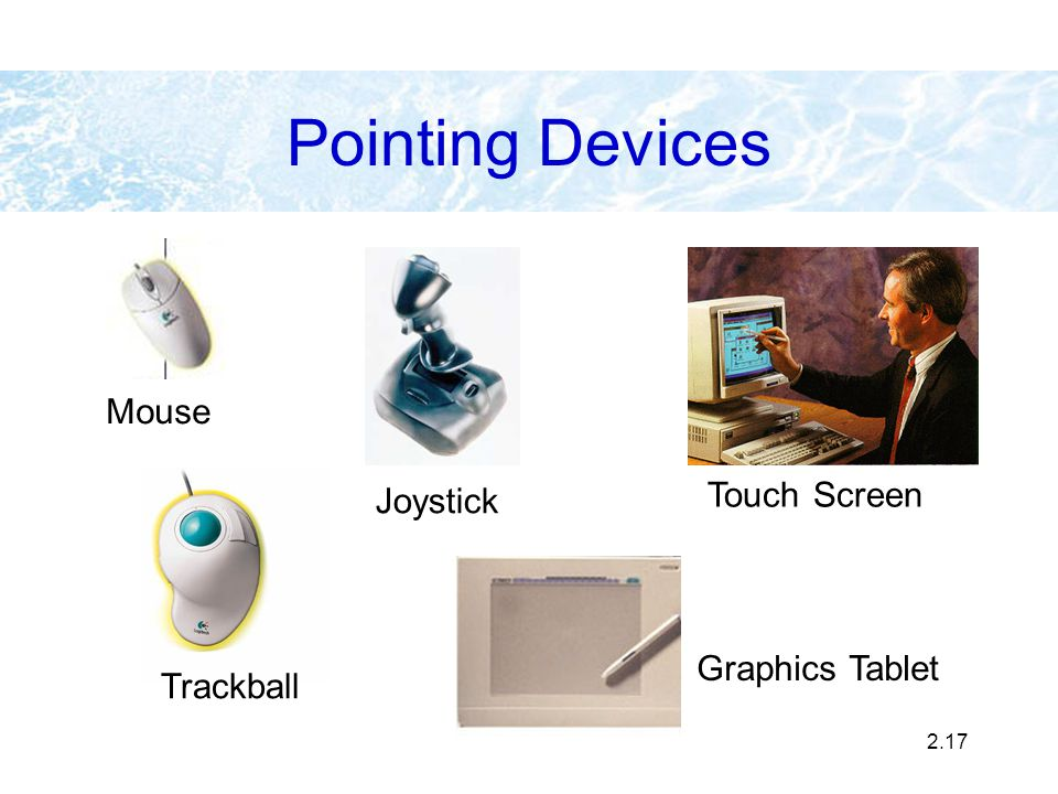 Pointing Devices Mouse Touch Screen Joystick Graphics Tablet Trackball