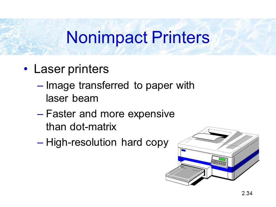 Nonimpact Printers Laser printers