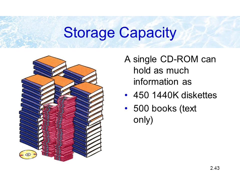 Storage Capacity A single CD-ROM can hold as much information as
