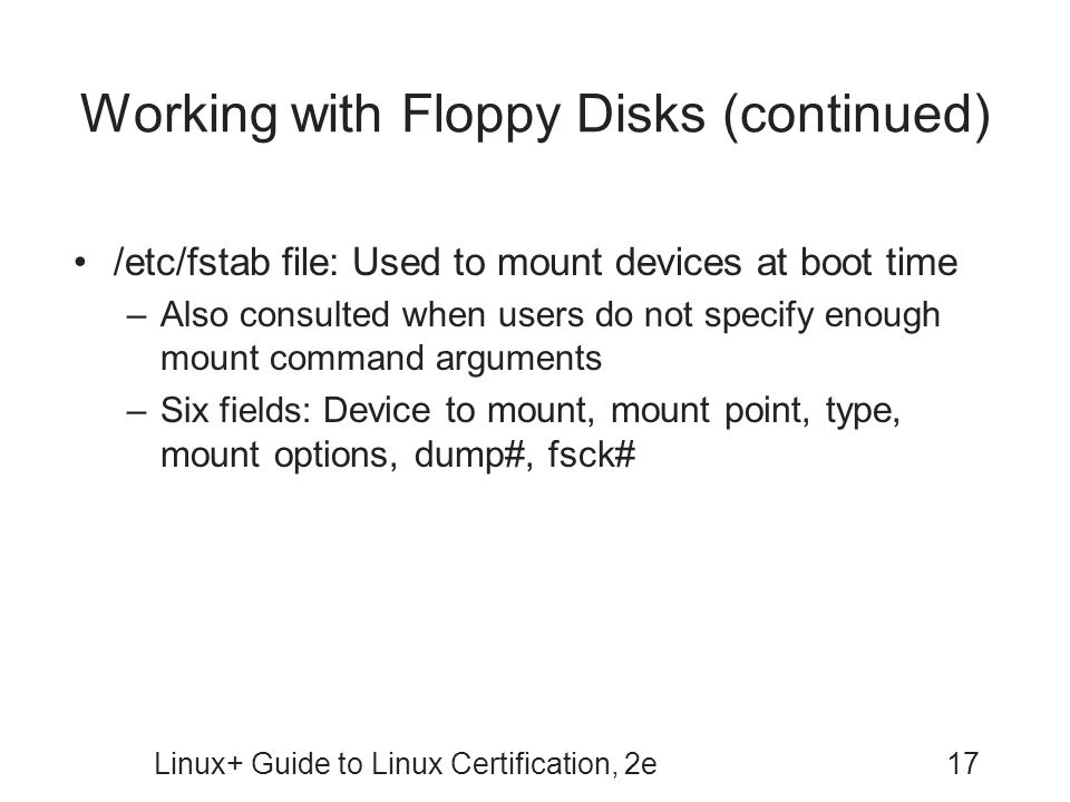 Working with Floppy Disks (continued)