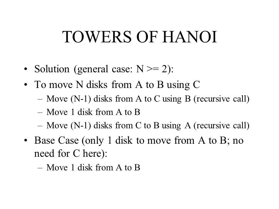 TOWERS OF HANOI Solution (general case: N >= 2):