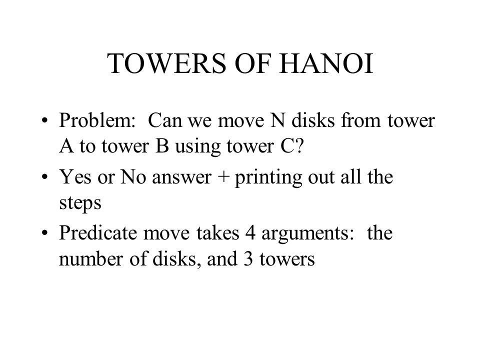 TOWERS OF HANOI Problem: Can we move N disks from tower A to tower B using tower C Yes or No answer + printing out all the steps.