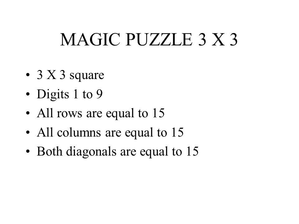 MAGIC PUZZLE 3 X 3 3 X 3 square Digits 1 to 9 All rows are equal to 15