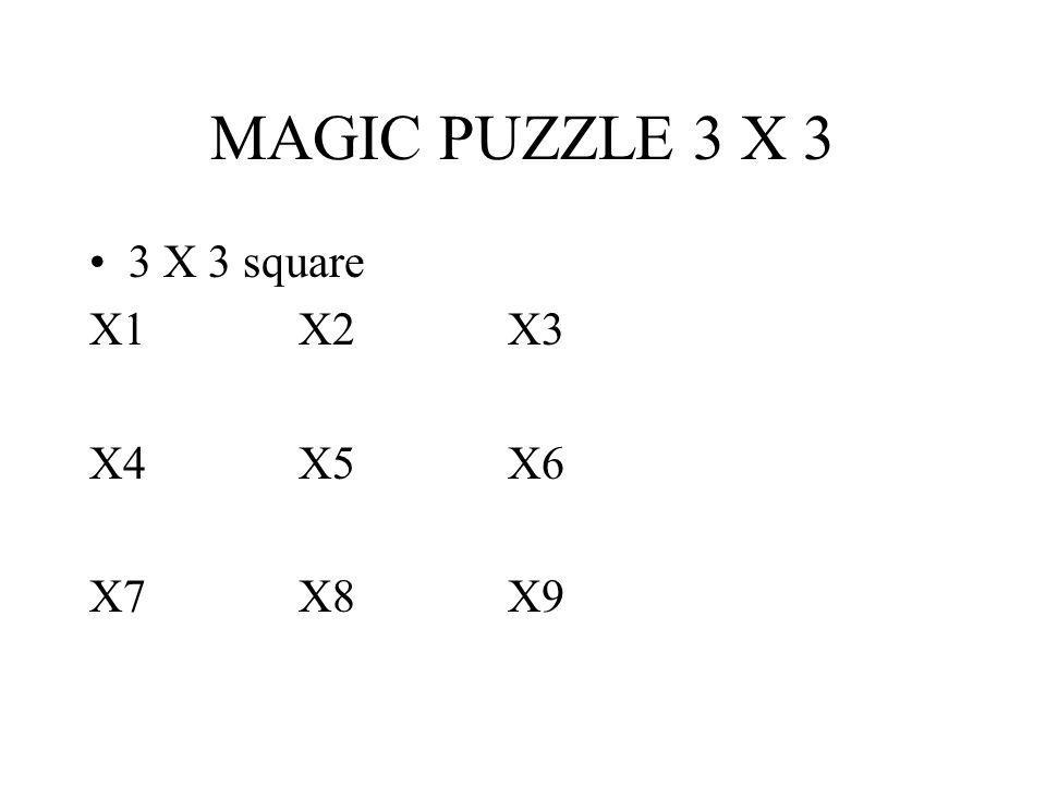 MAGIC PUZZLE 3 X 3 3 X 3 square X1 X2 X3 X4 X5 X6 X7 X8 X9