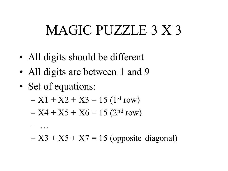 MAGIC PUZZLE 3 X 3 All digits should be different