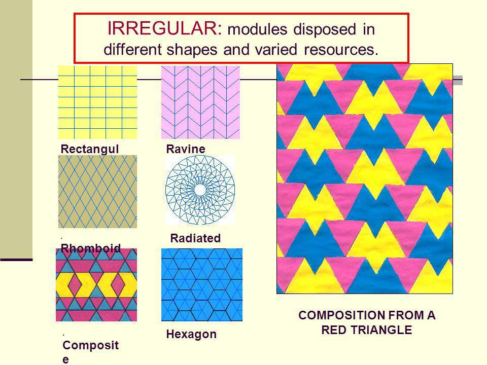 IRREGULAR: modules disposed in different shapes and varied resources.