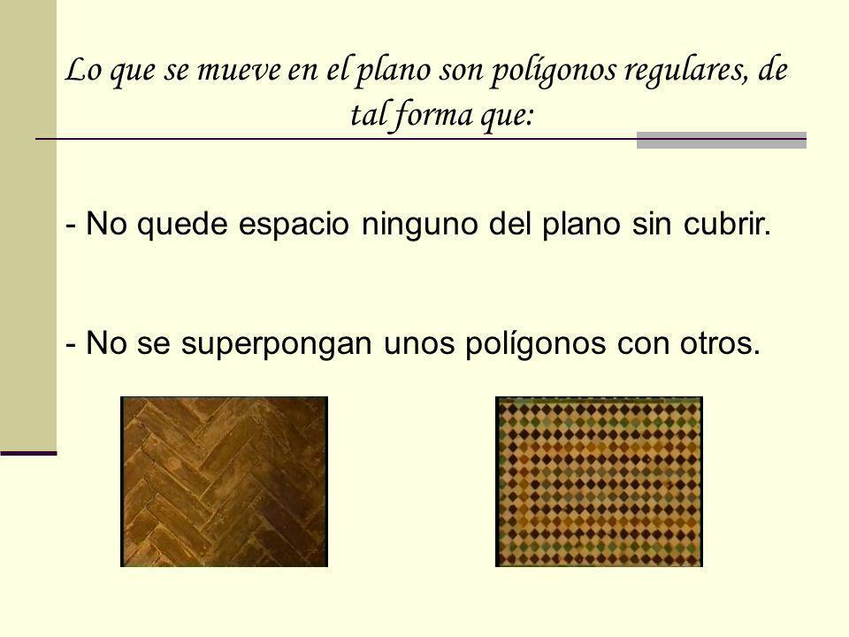 Lo que se mueve en el plano son polígonos regulares, de tal forma que: