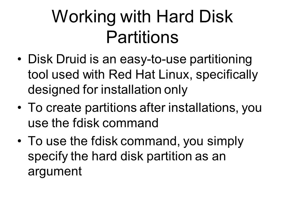 Working with Hard Disk Partitions