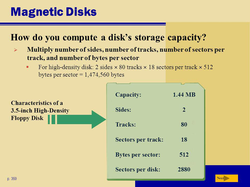Magnetic Disks How do you compute a disk's storage capacity