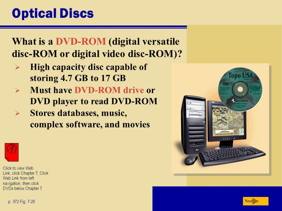 Optical Discs What is a DVD-ROM (digital versatile disc-ROM or digital video disc-ROM) High capacity disc capable of storing 4.7 GB to 17 GB.
