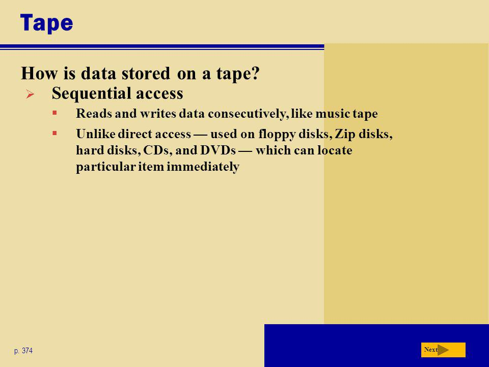 Tape How is data stored on a tape Sequential access