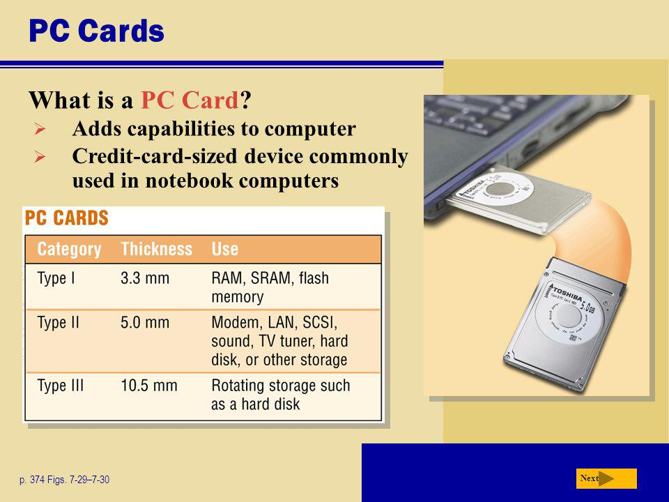 PC Cards What is a PC Card Adds capabilities to computer