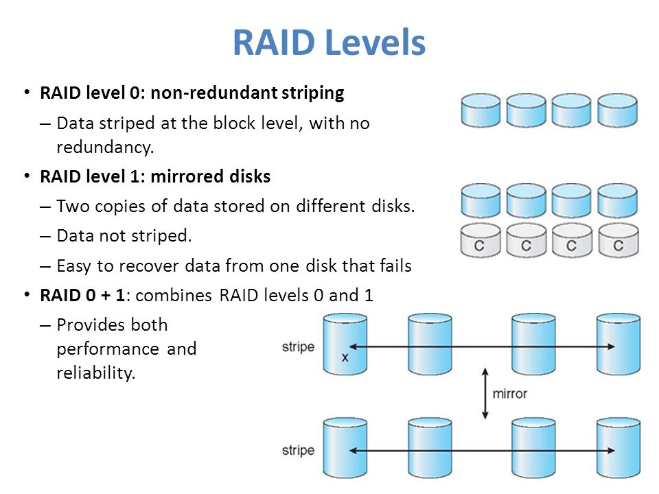 RAID Levels RAID level 0: non-redundant striping