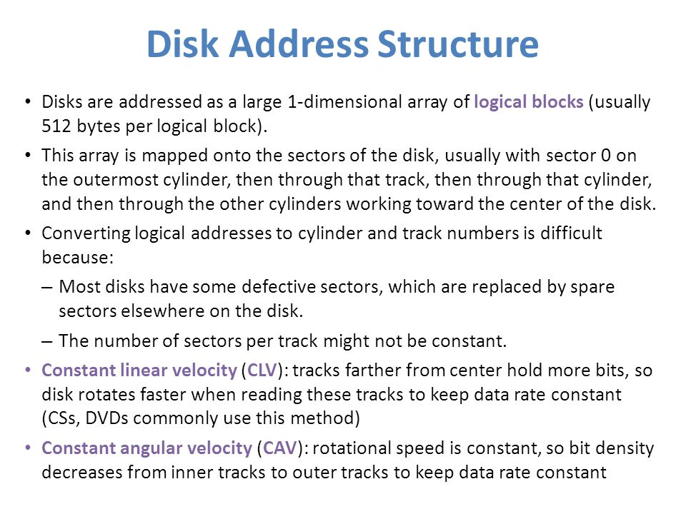 Disk Address Structure
