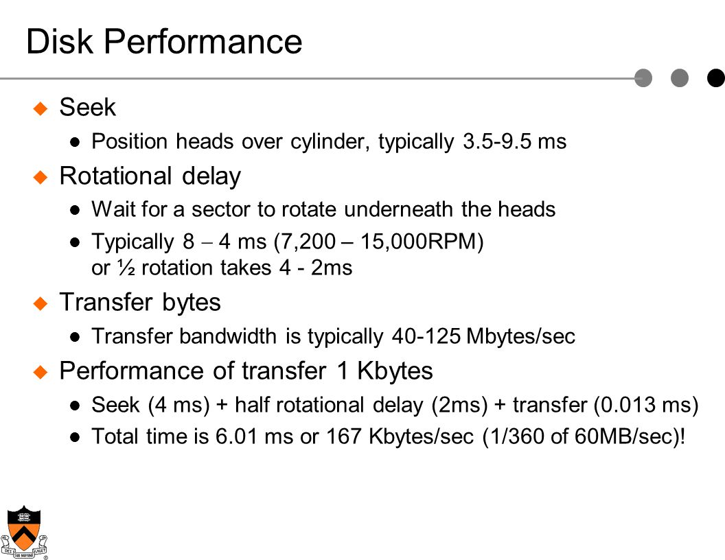 Disk Performance Seek Rotational delay Transfer bytes