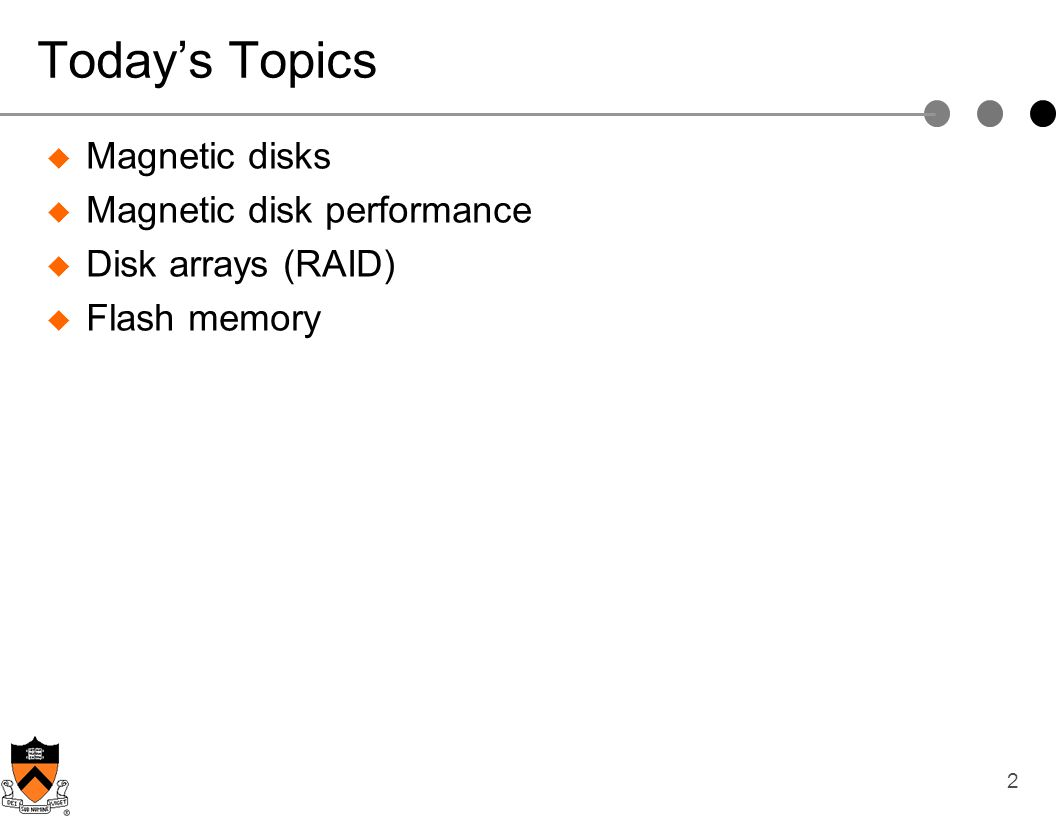 Today's Topics Magnetic disks Magnetic disk performance