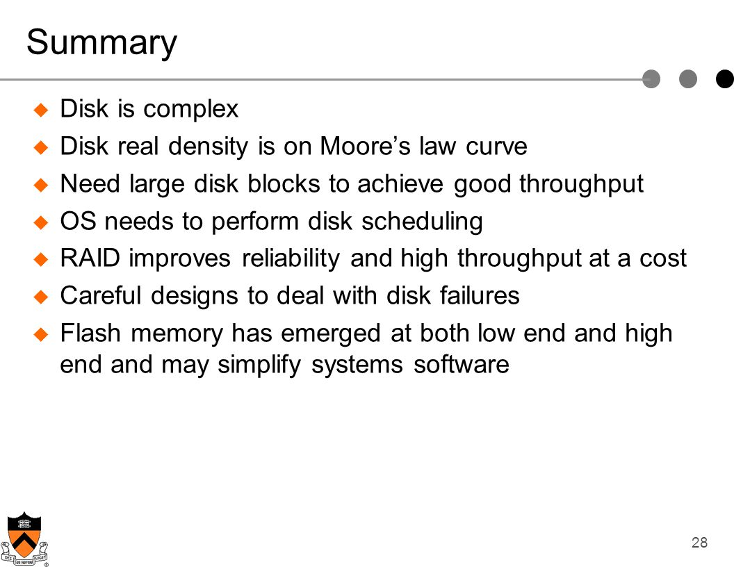 Summary Disk is complex Disk real density is on Moore's law curve