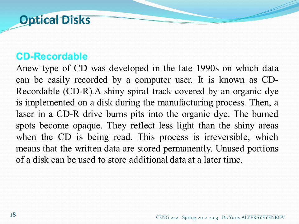 Optical Disks CD-Recordable