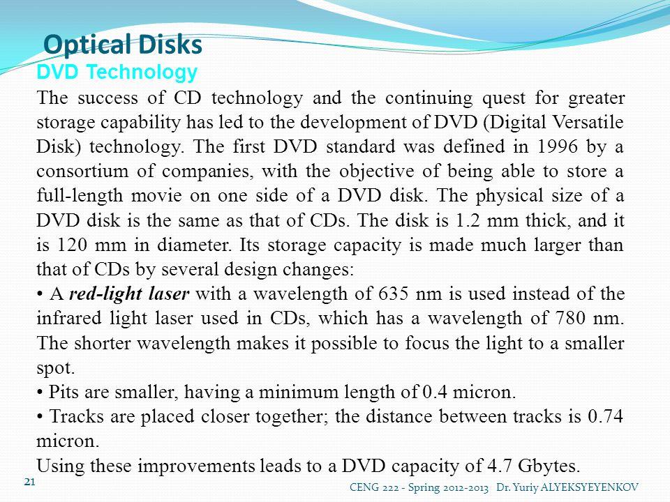 Optical Disks DVD Technology