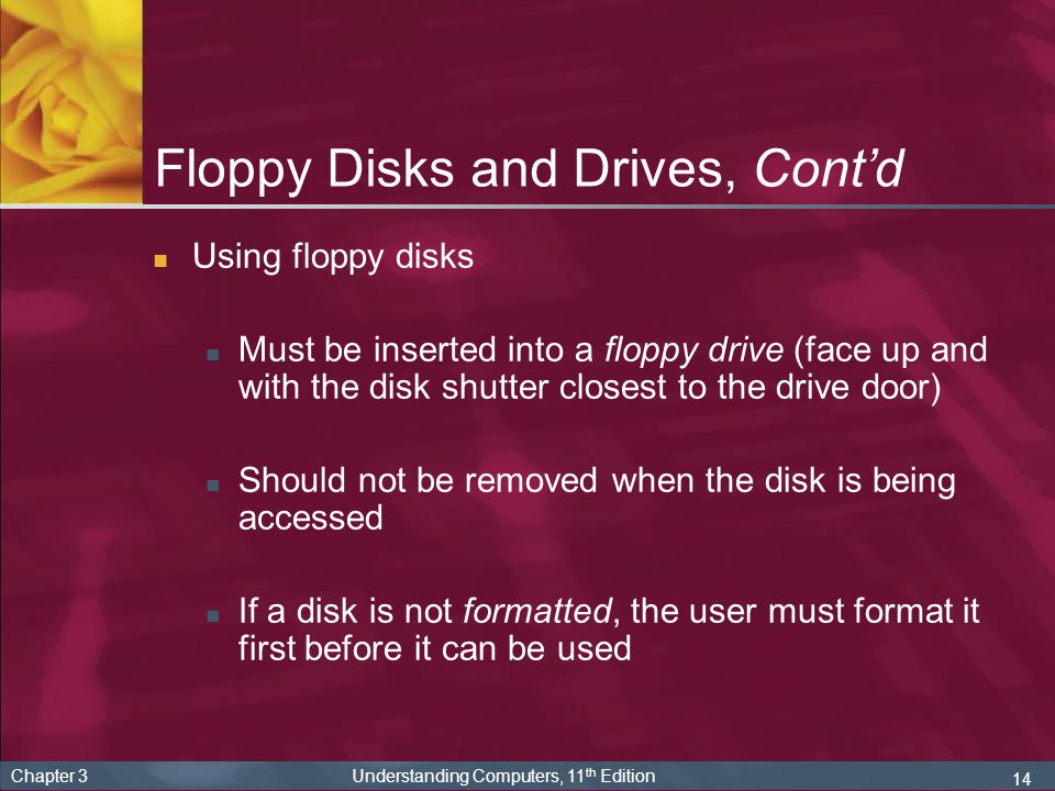 Floppy Disks and Drives, Cont'd