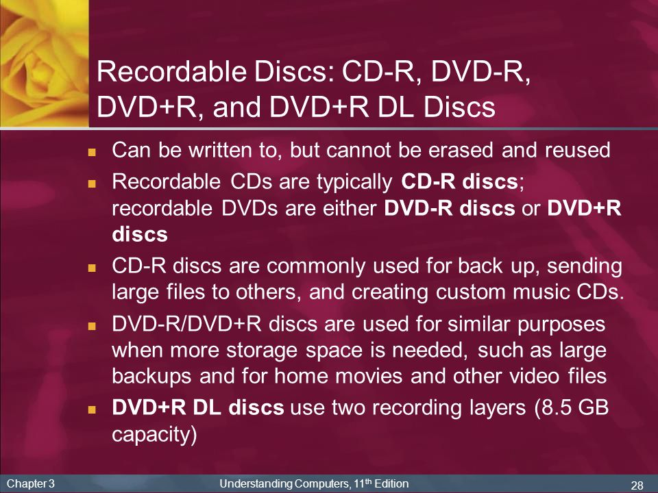 Recordable Discs: CD-R, DVD-R, DVD+R, and DVD+R DL Discs