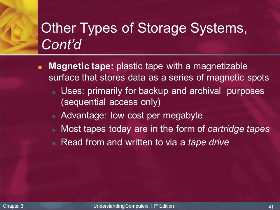 Other Types of Storage Systems, Cont'd