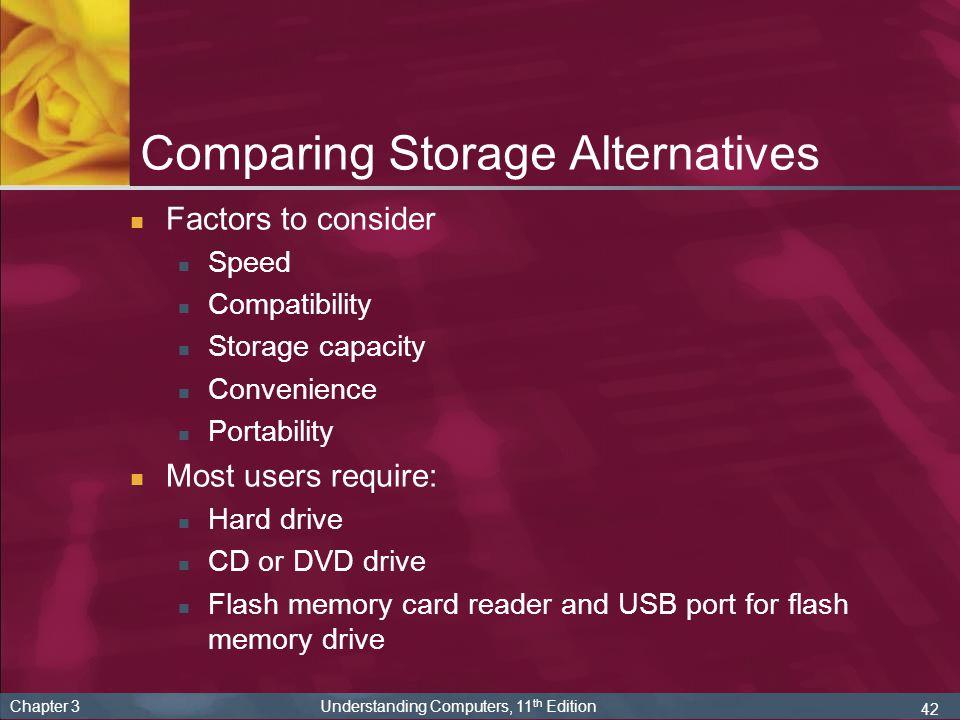 Comparing Storage Alternatives