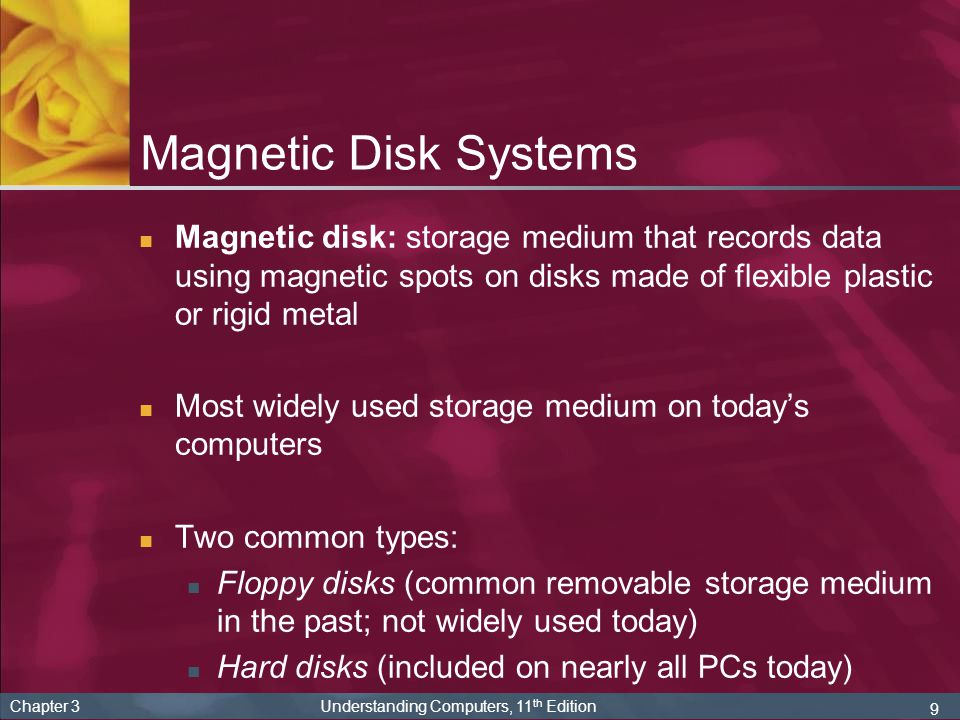 Magnetic Disk Systems Magnetic disk: storage medium that records data using magnetic spots on disks made of flexible plastic or rigid metal.