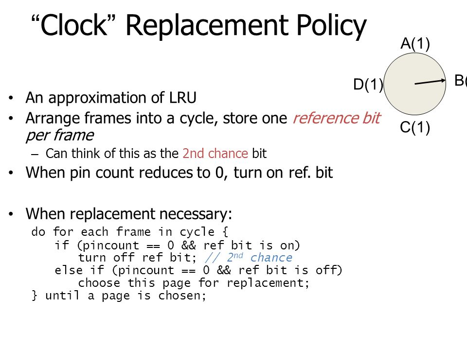 Clock Replacement Policy