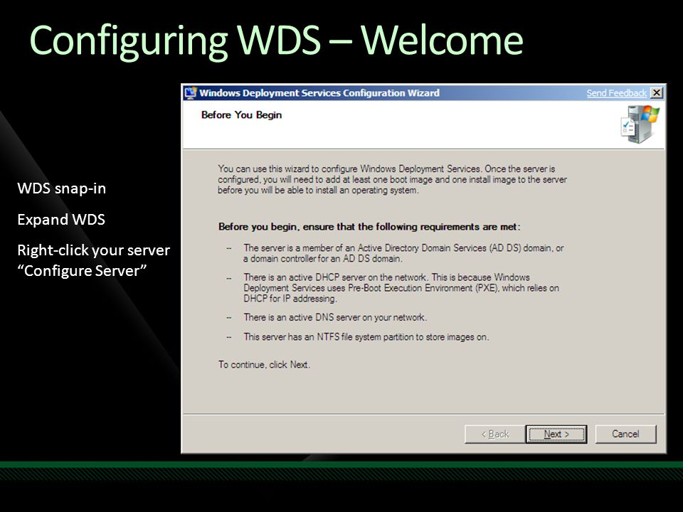 Configuring WDS – Welcome