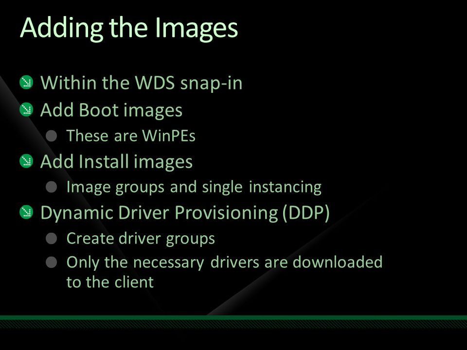 Adding the Images Within the WDS snap-in Add Boot images