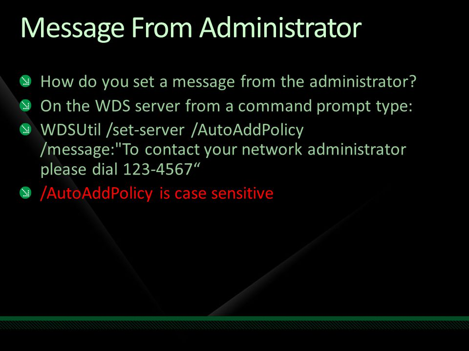 Message From Administrator